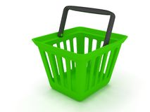 3D rendering of a green shopping basket. On white Stock Image