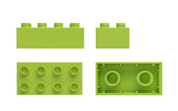 3d rendering of a green toy block shown from side, front and bottom view. Stock Photo