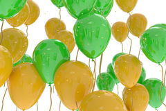 3D rendering of green and yellow balloons Royalty Free Stock Photo