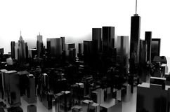 3D rendering. Grey city. Black and white glossy city vector illustration