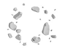 3d rendering of grey pieces of plaster wall hanging in the air on white background. Royalty Free Stock Photography