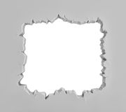 3d rendering of a grey plaster wall with a large square sharp-edged hole in the middle. Royalty Free Stock Photography