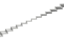 3d rendering of a grey stone staircase on white background. Going up. Corporate ladder. Unreliable choice Stock Photography