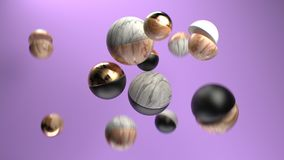 3d rendering group of abstract marble, gold, wood and plastic spheres . 3d rendering group of abstract spheres. Glossy plastic, shiny gold, wood and marble Stock Photos