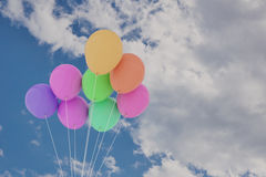 3D rendering of group of balloons on a sky. 3D rendering of a group of balloons on a sky Royalty Free Stock Photography