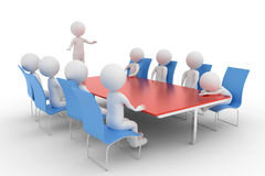 3D rendering from a group of clay characters in a meeting room where one participant is sleeping Royalty Free Stock Photos