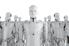 Group of robots. 3d rendering group of humanoid robots in a row Royalty Free Stock Image