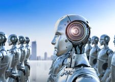 Group of robots. 3d rendering group of humanoid robots in a row Royalty Free Stock Photography