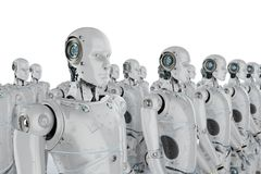 Group of robots. 3d rendering group of humanoid robots in a row Stock Photos