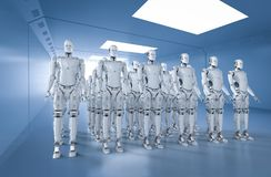 Group of robots. 3d rendering group of humanoid robots in a row Stock Photography