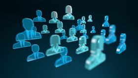 3D rendering group of icon blue people Royalty Free Stock Photography