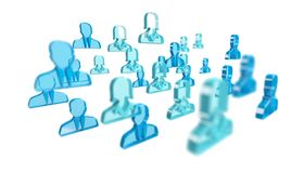 3D rendering group of icon blue people Royalty Free Stock Image