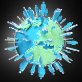 3D rendering group of icons people surrounding planet Earth Stock Images