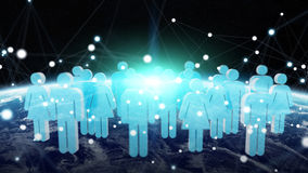 3D rendering group of icons people surrounding planet Earth Stock Image
