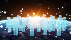 3D rendering group of icons people surrounding planet Earth Royalty Free Stock Image