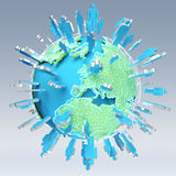 3D rendering group of icons people surrounding planet Earth Royalty Free Stock Photo