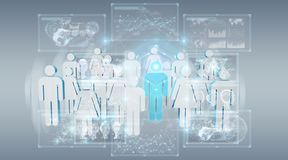 3D rendering group of people with blue man in middle. On grey background stock illustration