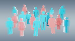 3D rendering group of people with blue man and pink woman. On grey background stock illustration