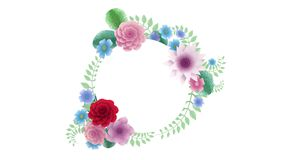 3d rendering, growing floral background flowers, blooming botanical circle frame, bridal round title place, pastel. 3d rendering, growing floral background vector illustration