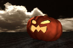 3D rendering : Halloween head jack-o-lantern pumpkin in a mystic dessert at night with sky and cloud in background.halloween Royalty Free Stock Photography