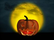 3D rendering of a halloween pumpkin with a big moon in the background. 3D rendering of a halloween pumpkin at night with a big yellow moon in the background and vector illustration