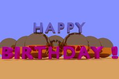3D rendering of HAPPY BIRTHDAY in colorful 3D characters. Gold balls and blue sky Stock Photography