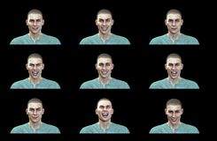 3D Rendering : Happy face expressions of male illustration with black background stock illustration
