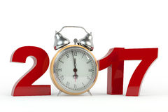 3D rendering 2017 Happy New Year background with old clock. Royalty Free Stock Image