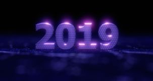 Happy New Year 2019. Holiday illustration blue neon numerals 2019 on a background in gray half-flowers with light effects. stock photography
