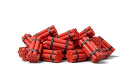 3d rendering of a heap of bundles of dynamite sticks on a white background. Geological exploration. Blasting compounds. Dangerous industry royalty free illustration