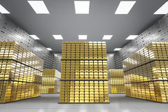 Bullion and safe deposit boxes in room Royalty Free Stock Images