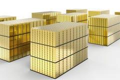 Heap of gold bullion. 3d rendering heap of gold bullion on white background stock illustration