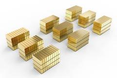 Heap of gold bullion. 3d rendering heap of gold bullion on white background royalty free illustration