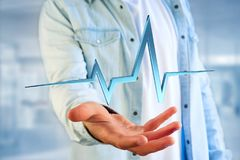 3d rendering heart beat line on a futuristic interface Stock Image