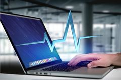 3d rendering heart beat line on a futuristic interface. View of a 3d rendering heart beat line on a futuristic interface Stock Photos