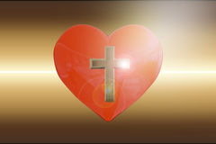 3D rendering of heart with golden cross on abstract background. Christian concept Stock Photography