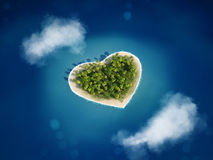 3D rendering  heart island Royalty Free Stock Photos