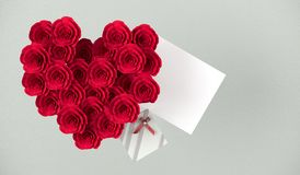 3D Rendering Of Heart Shape Bouquet Of Red Roses. Small Present Box With Bow And White Empty Note For Valentine`s Day On Leather Background Stock Photography