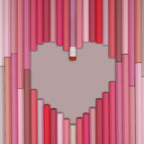 Pink  pastel pencils love background. 3D Rendering of heart shaped pencils Royalty Free Stock Images