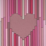 Pastel pencils love background. 3D Rendering of heart shaped pencils on  packing paper background Stock Images