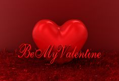 3d rendering heart with text be my valentine Royalty Free Stock Image