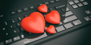 3d rendering hearts on a black keyboard. 3d rendering red hearts on a black keyboard Royalty Free Stock Photos