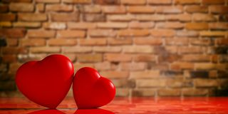 3d rendering hearts on a brick wall backgound. 3d rendering red hearts on a brick wall  backgound Stock Images