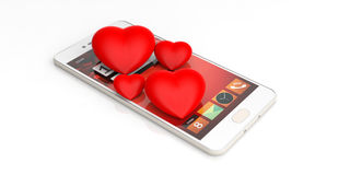 3d rendering hearts and smartphone on white background Royalty Free Stock Photos
