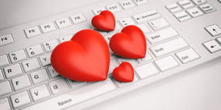 3d rendering hearts on a white keyboard. 3d rendering red hearts on a white keyboard Stock Image