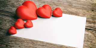 3d rendering hearts on wooden background and white space vector illustration