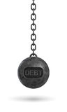 3d rendering of a heavy black wrecking ball with a word DEBT on its body hanging on a chain. Loss of business. Credit limit. Refinancing Stock Photo
