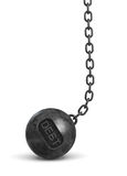 3d rendering of a heavy black wrecking ball with a word DEBT on its body hanging on a chain. Loss of business. Credit limit. Refinancing Stock Photography