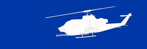 3d rendering of a helicopter on a blue background blueprint. Shape Stock Images
