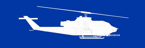 3d rendering of a helicopter on a blue background blueprint. Shape Royalty Free Stock Images